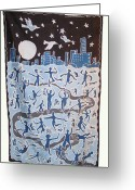 Moonlight Tapestries - Textiles Greeting Cards - Joy of Living Greeting Card by Rollin Kocsis