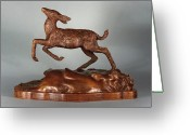 Deer Sculpture Greeting Cards - Joy of Spring Greeting Card by Dawn Senior-Trask