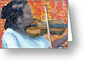 Player Mixed Media Greeting Cards - Joy Plays The Violin Greeting Card by Michael Lee