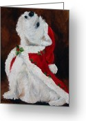 Westie Greeting Cards - Joy to the World Greeting Card by Mary Sparrow Smith
