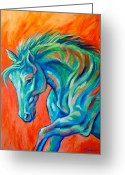 Wild Horse Painting Greeting Cards - Joyful Greeting Card by Theresa Paden