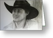 Western Pencil Drawings Greeting Cards - Jud Greeting Card by Mary Scott