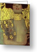 Expressionist Greeting Cards - Judith Greeting Card by Gustav Klimt
