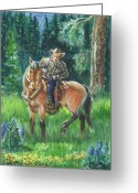 Pine Trees Painting Greeting Cards - Juel Riding Chiggy-bump Greeting Card by Dawn Senior-Trask