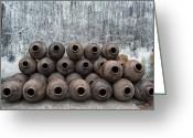 Jugs Greeting Cards - Jugs in a row Greeting Card by Jan Marijs
