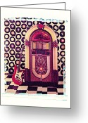 Music Box Greeting Cards - Juke Box Polaroid transfer Greeting Card by Garry Gay