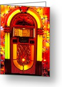 Music Greeting Cards - Juke box with Christmas lights Greeting Card by Garry Gay