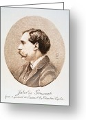 Jules Photo Greeting Cards - JULES A.H. DE GONCOURT (1830-1870). French novelist: engraving after a contemporary portrait on enamel Greeting Card by Granger