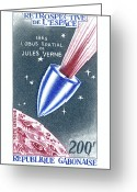 Postage Stamp Greeting Cards - Jules Verne Commemorative Stamp Greeting Card by Detlev Van Ravenswaay