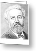 Science Fiction Drawings Greeting Cards - Jules Verne Greeting Card by Murphy Elliott