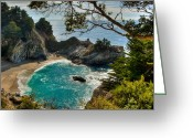 Peak One Greeting Cards - Julia Pfeiffer State Park Falls Greeting Card by Connie Cooper-Edwards