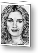 Academy Award Greeting Cards - Julia Roberts in 2008 Greeting Card by J McCombie