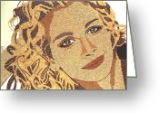 Portrait Reliefs Greeting Cards - Julia Roberts Greeting Card by Kovats Daniela