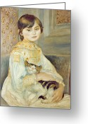 Pierre Auguste (1841-1919) Greeting Cards - Julie Manet with Cat Greeting Card by Pierre Auguste Renoir