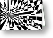 4th July Drawings Greeting Cards - July 4th Maze Greeting Card by Yonatan Frimer Maze Artist