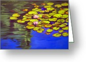 Clayton Painting Greeting Cards - July Waterlilies Greeting Card by Clayton Singleton