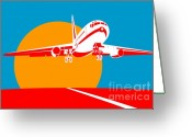 Taking Off Greeting Cards - Jumbo Jet  Greeting Card by Aloysius Patrimonio