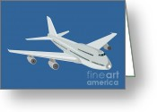 Transit Greeting Cards - Jumbo Jet Plane retro Greeting Card by Aloysius Patrimonio