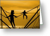 Childhood Photo Greeting Cards - Jump for joy Greeting Card by Jasna Buncic