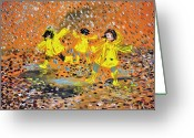 Puddle Painting Greeting Cards - Jump in the Puddle Greeting Card by Evelina Popilian