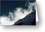 Alpine Skiing Prints Greeting Cards - Jump Greeting Card by Iurii Zaika