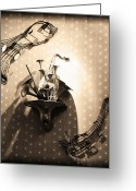 Horns Greeting Cards - Jumpin Jive Greeting Card by Bill Cannon