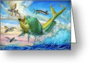 Marlin Azul Greeting Cards - Jumping Mahi Mahi And Flyingfish Greeting Card by Terry Fox