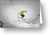 Skiing Greeting Cards - Jumping Of Rock Greeting Card by Camilla Hylleberg Photography