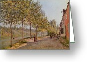 Tree-lined Greeting Cards - June Morning in Saint Mammes Greeting Card by Alfred Sisley