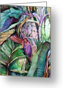 Banana Drawings Greeting Cards - Jungle Banana Pod Greeting Card by Mindy Newman