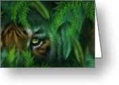 Panther Greeting Cards - Jungle Eyes - Tiger And Panther Greeting Card by Carol Cavalaris