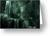 Compound Greeting Cards - Jungle Falls Greeting Card by DigiArt Diaries by Vicky Browning