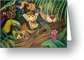 Juliana Dube Drawings Greeting Cards - Jungle Fever Greeting Card by Juliana Dube