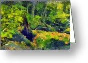 Forest Pastels Greeting Cards - Jungle Green Greeting Card by Russ Harris