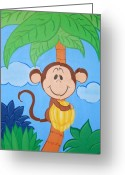 Banana Tree Greeting Cards - Jungle Monkey Greeting Card by Valerie Chiasson-Carpenter