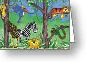 Jungle Snake Greeting Cards - Jungle Party Greeting Card by Kirsty Breaks