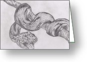 Jungle Snake Greeting Cards - Jungle Snake Greeting Card by Daniel Lamb