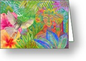 Masks Greeting Cards - Jungle Spirits and Humming Bird Greeting Card by Jennifer Baird