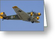 Plane Greeting Cards - Junkers Ju-52 Greeting Card by Adam Romanowicz