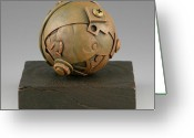Surrealism Sculpture Greeting Cards - Junkyard Dog Ball Greeting Card by Jacques Vesery