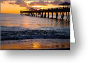 "\""sunset Photography\\\"" Greeting Cards - Juno Beach pier Greeting Card by Carey Chen"