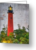 Intercoastal Greeting Cards - Jupiter Lighthouse Greeting Card by Debra and Dave Vanderlaan