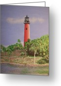 Burt Reynolds Greeting Cards - Jupiter Lighthouse Florida Greeting Card by Wayne Vander Jagt