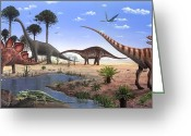 Dinosaurs Greeting Cards - Jurassic Dinosaurs, Artwork Greeting Card by Richard Bizley