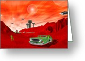 Flying Greeting Cards - Just Another Day on the Red Planet Greeting Card by Mike McGlothlen