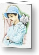 Movie Legend Greeting Cards - Just Audrey Greeting Card by Mo T