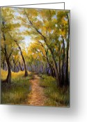 Autumn Leaves Pastels Greeting Cards - Just before Autumn Greeting Card by Susan Jenkins
