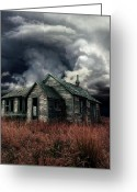 "\\\""haunted House\\\\\\\"" Greeting Cards - Just before the Storm Greeting Card by Aimelle"