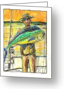 Contemporary Pastels Greeting Cards - Just Caught The One Greeting Card by Robert Wolverton Jr