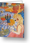 Blonde Girl Greeting Cards - Just Desserts Greeting Card by Pamela Goedhart